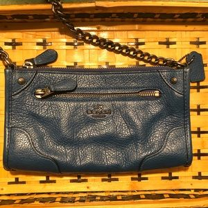 Blue Coach Crossbody Leather Purse w/ Chain Strap